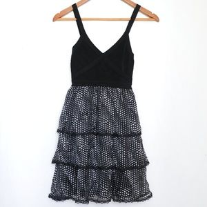 Bebe Back Ruffle Polka Dot Mini Cocktail Dress